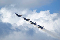 Blue Angels Climb 4 In A Line Toward The Clouds