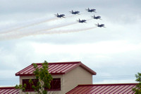 Blue Angels 6-Plane Formation Over Rooftops